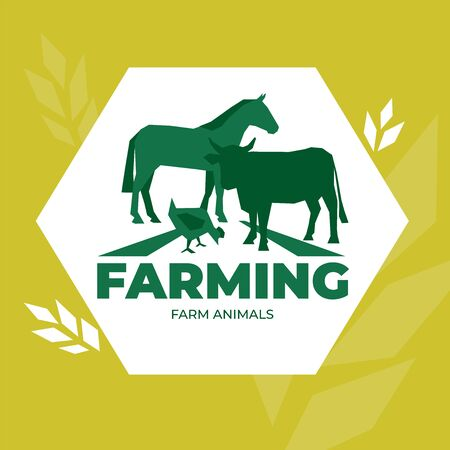 Vector illustration of farm animals. Logo for livestock company,ranching. Symbol with cow,horse and chicken on the field. Label for Bio products, farmers fair,market. Design element for brand identity Фото со стока - 129133415
