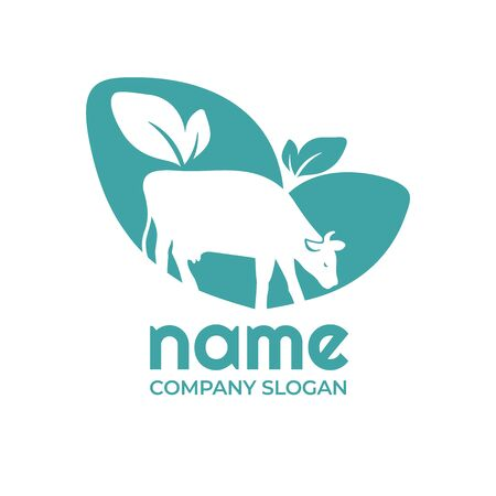 Vector illustration with cow and leaves. Agro, milk sign. Icon for farm, livestock company, dairy product, agricultural business with cow in pasture. Design element for brand identity with farm animal Vectores