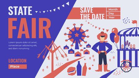 Template for State Fair with Save the date. Vector illustration of Street Food, amusement park, market, ferris wheel, farmer, country fair. Design for banner, flyer, invitation, advertisement, web site