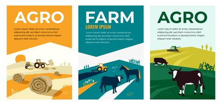 Set of vectors with agriculture, farming, livestock, harvest. Illustrations of a tractor, hayfield, haystack rolls, farm animals, cows in pasture, combine harvester. Template for banner, poster, prints