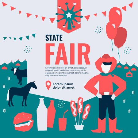 Vector illustration for State Fair with food and drink, amusement park, market, ferris wheel, farmer, farm animals, country fair. Template for banner, poster, flyer, invitation, advertisement, ticket. Иллюстрация