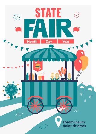 Vector detail illustration of State Fair. Event poster with food market, ferris wheel,fast food store on wheels,cart with drink,burger, pizza, popcorn. Template with date and place for banners, prints Stock Vector - 129133448