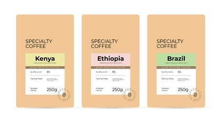 Set of labels for hand roasted Specialty Coffee. Branding and packaging design for coffee beans. Modern design concept of emblem, sticker, Isolated template  for pack, advertisement, prints