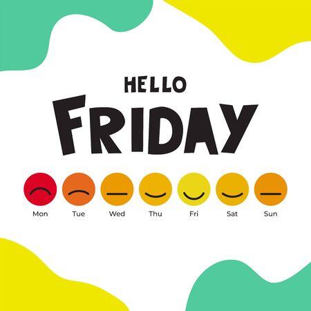 Ilustración de vector con sonrisas y lema Hola viernes. Diseño de fondo con emoji días de la semana. Conjunto de emoticonos para postal sobre feliz viernes. Plantilla para pancarta, póster, web, impresión, tarjeta.
