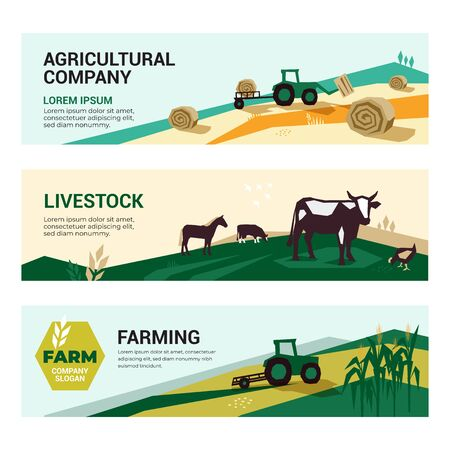 Set of illustrations with agriculture, farming,livestock, harvest. Illustrations of a tractor, hayfield, haystack rolls, farm animals, cows and horse in pasture. Template for banner, annual report, web