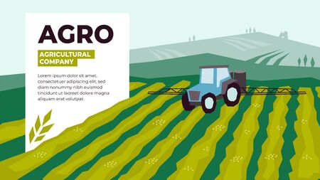 Vector illustrations of agriculture with irrigation tractor spraying on field. Design for agricultural company with tractor pours fertilizer. Template for banner, annual report, prints, flyer, layout.  イラスト・ベクター素材