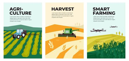 Set of vectors with agriculture,harvest, smart farming. Illustrations of irrigation tractor spraying on field,combine harvester, drones,agro industry and technology. Template for poster, annual report 일러스트