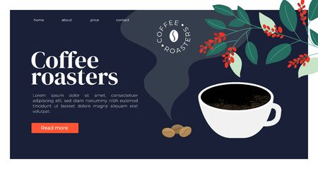 Template  for coffee roasters website. Vector illustration with espresso, fresh roasted coffee beans and plant. Design for banner, landing page, web page, blog post, booklet, prints, flyer, background
