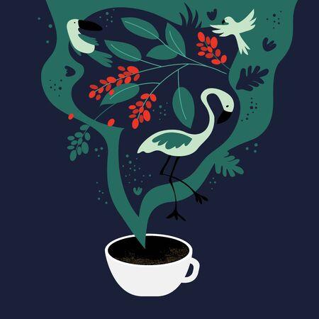 Vektor-Illustration einer Tasse Espresso mit ausgefallenem Duft. Die Träume von Tropen, äquatorialen Regionen, in denen Kaffeepflanzen angebaut werden. Vorlage mit Tukan, Flamingo, Papagei für Banner, Poster, Flyer