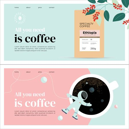 Set of templates with specialty coffee packaging, espresso, outer space and astronaut. Layout with quote All you need is coffee. Design for banner, landing page, website, blog, booklet, prints, flyer. Иллюстрация