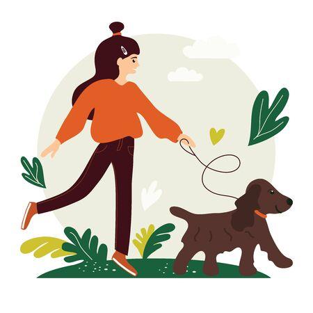 Young cute girl walking with a dog. Vector illustration for service of pet sitter, walker, vet clinic, pet care, hospital, dog shelter. Design template for poster, booklet, banner, flyer, web, advert