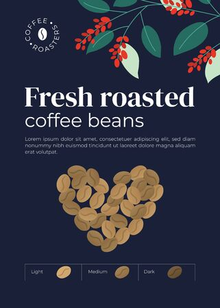 Advert poster for coffee roasters company. Heart shaped coffee beans. Infographic with degree of roast: light, medium, dark. Design for banner, placard, merchandising, layout, prints, flyer, booklet.