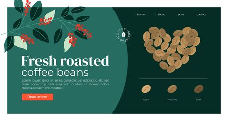 Website template  for coffee roasters company. Heart shaped coffee beans. Infographic with degree of roast: light, medium, dark. Design for banner, landing page,web, layout, prints,flyer, online store Иллюстрация