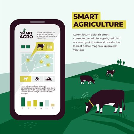 Smart agriculture illustration with farm, cows, pasture, agricultural fields. Data collection and analysis from each cow using smartphone and sensors. Template for banner,annual report, prints, layout