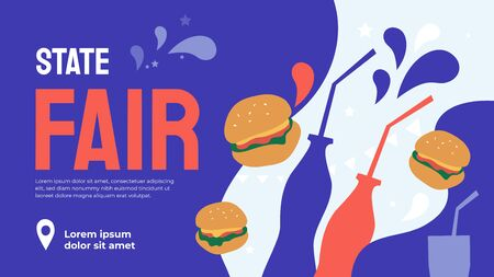 Event poster with food for State Fair or Street food festival. Vector illustration with burgers, bottles, drink. Design template for invitation, landing page, layout, banner, print, flyer, brochure. Иллюстрация