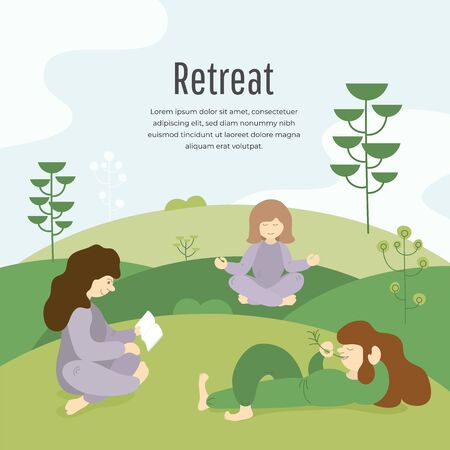 Vector illustration of three girls in retreat tour, reading, meditating, lying on green grass, uses a technique mindfulness. Yoga, retreat weekend. Group of people relax in nature. Template for banner