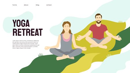 Yoga retreat vector illustration. Man and woman sitting on grass, meditation. Technique mindfulness, breath control exercise, concentration and insight. Banner, poster, layout template for yoga studio