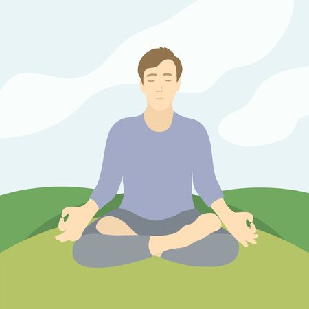Vector illustration of man sitting on grass in lotus pose of yoga. Man practicing meditation, pranayama, technique mindfulness, breath control. Design template for banner, poster, card, advert, flyer.
