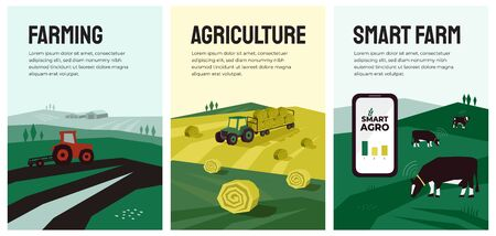 Vector illustrations with agriculture, farming, livestock, tractor, hayfield, haystack rolls, pasture.  Smart farm with data collection from cows using smartphone, sensors. Template for banner, poster Ilustração