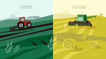 Vector illustration of agricultural activities in countryside. Panorama spring and autumn in farm. Tractor plows on field, combine harvester, hayfield, haystack rolls. Template for banner, web, layout