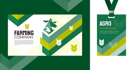 Design template for farming, agriculture, livestock business. Identity for agricultural company, agro conference, forum, event, exhibition. Mockup ID card with strap. Vector illustration for banners. Ilustración de vector
