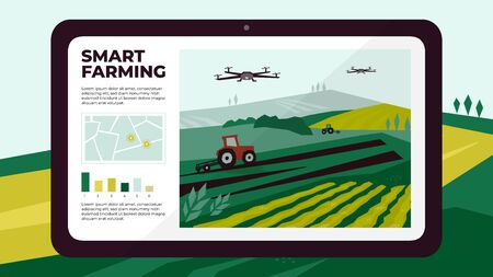 Illustration of  smart farm with drone control by tablet. Innovation technology for agricultural company. Automation farming with remote controllable tractors. Template for web, print, flyer, report. Ilustração