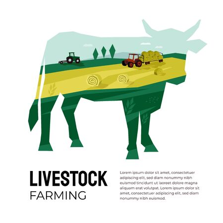 Vector illustration of livestock farming, agricultural company. Cow silhouette with landscape inside. Poster of agriculture with tractor, hayfield, haystack rolls, farmland. Template for banner, flyer