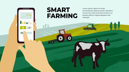 Illustration of  smart farming with smartphone in hands. Innovation technology for agricultural company. Remote controllable tractor, combine harvester. Template with cow, machinery for banner, flyer.