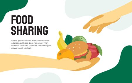 Projet de partage de nourriture. Illustration vectorielle de partage de repas, réduction des déchets, coup de main pour les pauvres ou les réfugiés. Conception pour la charité, organisation bénévole. Poignée de nourriture. Modèle de dépliant.