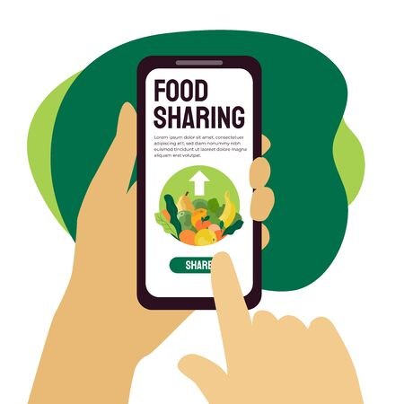 Food sharing project mobile app help restaurant or cafe sell unused food. Vector illustration of share meal and waste reduction. Hands holding smartphone. Template for banner, flyer, ad, poster, web.