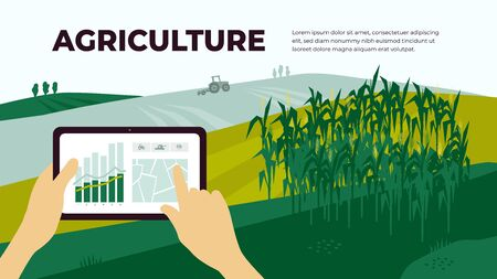 Illustration of agriculture with control by tablet. Smart farming and innovation technology. Analysis data, chart and graph on device. Landscape with cornfield and tractor. Template for web, flyer, ad