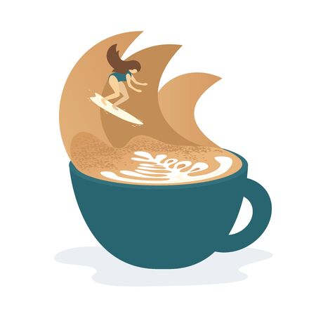 Vector illustration of girl with surfboard riding waves in cup of cappuccino. Concept surf and coffee for coffee shop or house, cafe, surf school. Design for banner, flyer, print, poster, textile, web 向量圖像