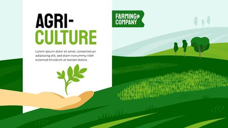 Vector illustration of hand with plant sprout. Design for agricultural company with crops, farm land, fields. Template with agriculture for banner, annual report, prints, flyer, booklet, brochure, web Ilustrace