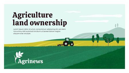 Illustrazione vettoriale della proprietà dei terreni agricoli. Sfondo con trattore sul campo, paesaggio, fattoria. Icona di Agrinews con punta di grano. Design per banner, layout, relazione annuale, web, flyer, brochure, annunci