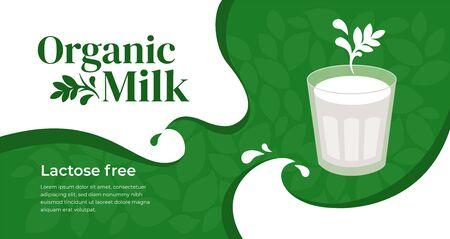 Illustration vectorielle de lait bio sans lactose, boisson végétarienne. Concevoir avec des boissons à base de plantes. Verre de soja, amande, flocons d'avoine ou de noix de coco, lait de cajou. Modèle de bannière, mise en page, flyer, site Web Vecteurs