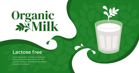 Vector illustration of organic lactose free milk, vegetarian drink. Design with plant based beverage. Glass of soy, almond, oatmeal or coconut, cashew milk. Template for banner, layout, flyer, website