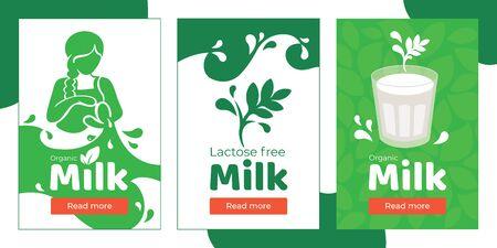 Ensemble de bannières pour le lait biologique sans lactose, boisson végétarienne à base de plantes. L'illustration vectorielle avec une fille verse une boisson de la cruche, des éclaboussures et des gouttes. Verre de lait de soja, d'amande, d'avoine ou de coco. Vecteurs