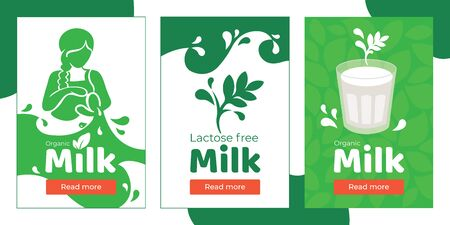 Set of banners for organic lactose free milk, plant based vegetarian beverage. Vector illustration with girl is pouring drink from jug, splash and drops. Glass of soy, almond, oatmeal or coconut milk.