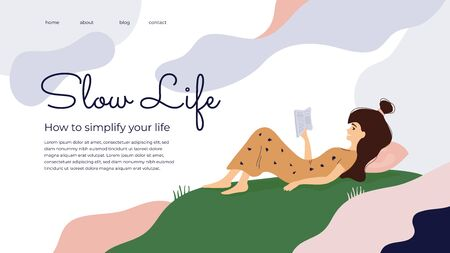 Slow living, wellbeing or wellness concept. Vector illustration about How to simplify your life. Girl reading book, time for yourself. Meditation and slow down life. Template for poster, layout, flyer