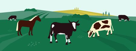 Background for farming or livestock company. Vector illustration of cows and horse in pasture. Farm animals on agricultural field. Rural landscape with dairy cattle. Design for flyer, poster, banner. Foto de archivo - 138258980