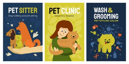 Set of posters for vet clinic, dog walking and pet sitting service, wash and grooming salon, veterinary hospital. Vector illustrations with dogs, cute girl hugging cat. Design for banner, flyer, cover