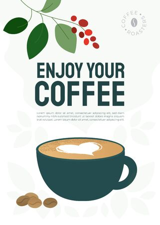 Poster of specialty coffee with cup of cappuccino, milk heart and roasted beans. Vector illustration with quote Enjoy your coffee. Design for restaurant, cafe, shop. Background for banner, menu, flyer Vektorové ilustrace