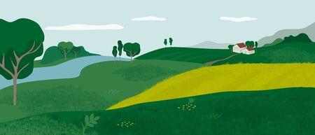 Paesaggio alpino panoramico con vallata verde, case e fiume. Scena rurale con casale, colline, prati e campi. Illustrazione vettoriale di fattoria, natura all'aperto. Sfondo di campagna per volantino, annuncio