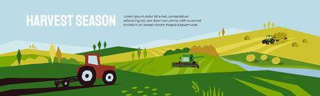 Harvest season and agriculture concept. Farm landscape, panoramic scenery of countryside in autumn. Vector illustration of tractors, plowing land, combine harvester and hayfield with haystack rolls.