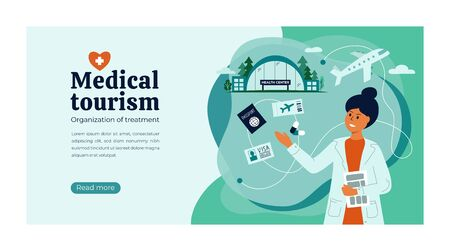 Vector illustration of medical tourism, insurance agency. Doctor helps to choose quality clinic, hospital, to organize of treatment abroad, buy airplane ticket, apply for visa. Layout template, flyer.