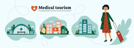 Medical tourism agency. Girl choosing quality medical services all over the world. Icons of clinic, hospital, health care center. Young woman and organization of treatment abroad. Vector illustration.