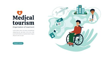 Design concept for medical tourism agency. Vector illustration with Earth, atlas, helping hand. Disabled man in wheelchair searching for clinic and doctor. Organization of treatment all over the world