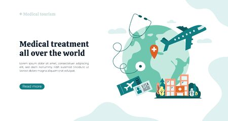 Organization of medical tourism and treatment all over the world. Vector illustration with Earth, atlas, clinic building. Globe on white background with stethoscope, airplane. Flyer, web page concept.