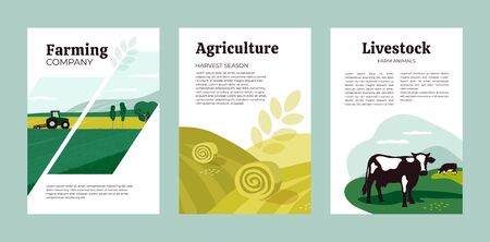 Set of posters with agriculture, farming and livestock. Vector illustrations of tractor, hayfield, hay stack rolls, farm animals and cows in pasture. Template for banner, cover, flyer, print, brochure