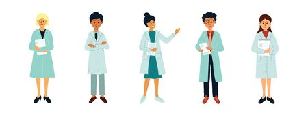 Set of avatars of medical specialists on white background. Isolated characters of female and male medicine workers. Group of doctors. Vector illustration of hospital staff, healthcare professionals.